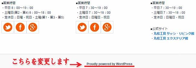 wordpress フッター