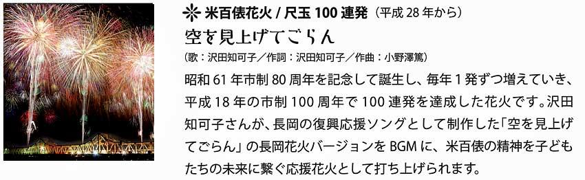 米百俵花火・尺玉100連発